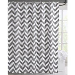 LanMeng Geometric Fabric Shower Curtain, Grey Chevron Off Wh