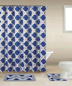 Geometric Lattice Blue Multi 15 Pcs Shower Curtain with Hook