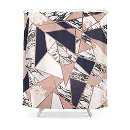 Society6 Geometric Navy Blue Peach Marble Rose Gold Triangle