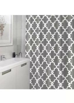 Geometric Patterned Shower Curtain, Grey