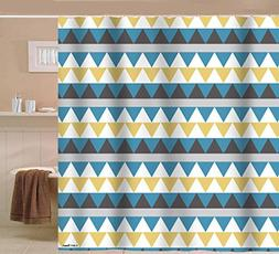 Sunlit Geometric Patterned Shower Curtain Triangle Pattern B