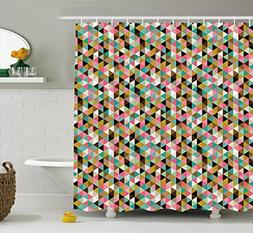 Ambesonne Geometric Shower Curtain by, Retro Vintage 50s 60s