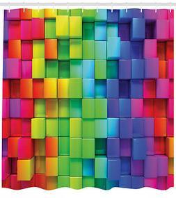 Geometric Shower Curtain Rainbow Color Print for Bathroom