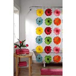 Maytex Gerbera Daisy PEVA Shower Curtain , New, Free Shippin