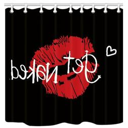 KOTOM Get Naked Shower Curtain, Sexy Red Lip Prints on Black