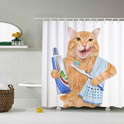Shower Curtain ,Brushing teeth cat. 60 x 72 Inch