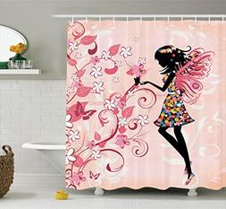 Ambesonne Girls Shower Curtain Fairy Decor by, Pink Butterfl