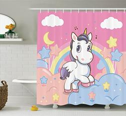 Ambesonne Girls Shower Curtain Set Kids Decor, Unicorn With