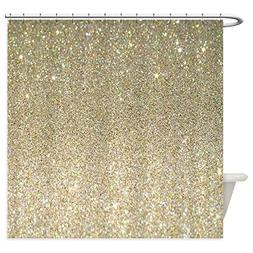 CafePress - Art Deco Gold Glitter - Decorative Fabric Shower