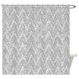 CafePress - Silver Glitter & Sparkles Chevron P - Decorative