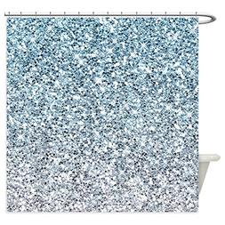 CafePress - Silver Blue Glitters Sparkles Texture Shower Cur