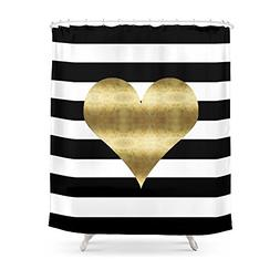 Cloud Dream Gold Heart Black And White Stripe Pattern Bathro