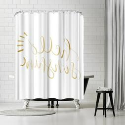 Americanflat Gold Hello Sunshine Typography Shower Curtain b