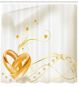 Gold Shower Curtain Wedding Rings Heart 3D Print for Bathroo