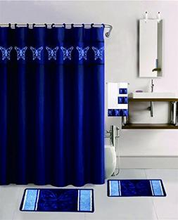 Golden Linens 18 Pieces Navy Blue Color Embroidery Butterfly