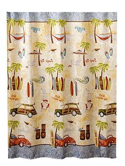 Gone Surfing Beach Theme Shower Curtain