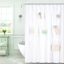 GoodGram Fabric Shower Curtain Liners With Mesh Pockets - As