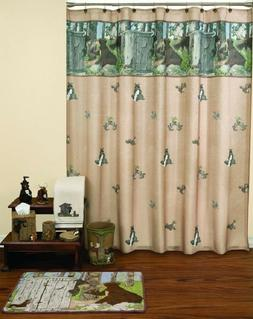 Gotta Go Outhouse Cabin Bear Moose Raccoon Shower Curtain an