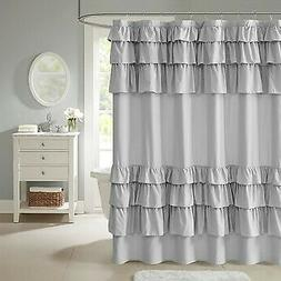 Madison Park Grace Ruffled Shower Curtain Grey 72x72