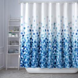 Gradient Blue Shower Curtain Petal Pattern Waterproof Fabric