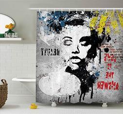 Graffiti Decor Shower Curtain by Ambesonne, Modern Grunge Wa