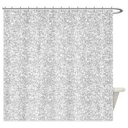 CafePress - Silver Gray Glitter Sparkles - Shower Curtain