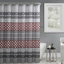 Gray Rust Black Fabric Shower Curtain Trendy Eclectic Geomet