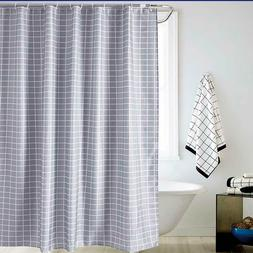 Gray Shower Curtain Set Modern Simple Grid Bathroom Curtain