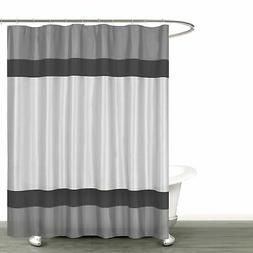 Gray Silver and Black Fabric Shower Curtain with Stripe Desi
