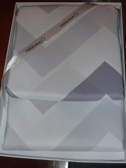 gray white chevron grommet shower curtain new