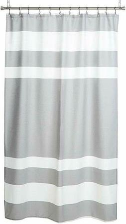 Madison Park Gray/White Stripe Spa Waffle Fabric Shower Curt