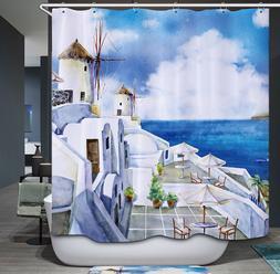 Greece Fabric Shower Curtain Greek Ocean European Romantic T