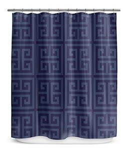 KAVKA DESIGNS Greek Key Navy Shower Curtain,  - ENCOMPASS Co