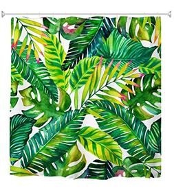 Goodbath Green Banana Leaf Shower Curtain, Tropical Palm Lea