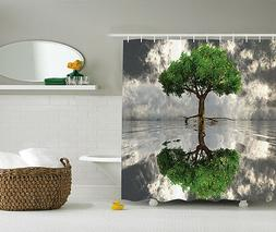 Green Gray White Photo Self Reflection Tree Fabric Shower Cu