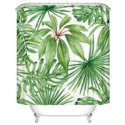 Goodbath Green Leaf Shower Curtains, Tropical Palm Leaves Mi
