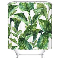 Ormis Green Leaves Pattern Shower Curtain Mildew Resistant W