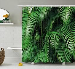 Ambesonne Green Shower Curtain by, Tropical Exotic Palm Tree
