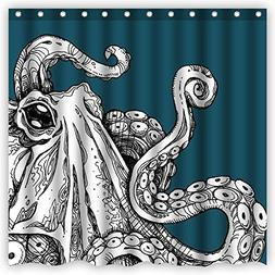 Atwtow Green Vintage Monster Octopus Tentacles Abstract Art