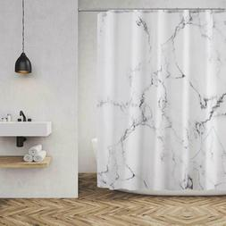 Grey and White Marble Bathroom Shower Curtain Polyester Fabr
