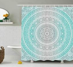 Ambesonne Grey and Aqua Shower Curtain, Ombre Traditional Un