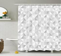 Ambesonne Grey Decor Collection, Faded Cubes Geometric Mosai