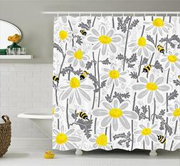 Ambesonne Grey Decor Shower Curtain, Daisy Flowers with Bees