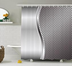 Ambesonne Grey Shower Curtain, Cool Background with Square S