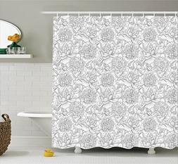 Ambesonne Grey Decor Shower Curtain Set, Hand Drawn Differen