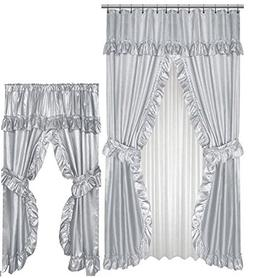 Home Fashions Grey Double Swag Shower and Window Curtain Set