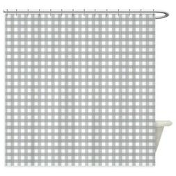 CafePress Grey Gingham Pattern Shower Curtain