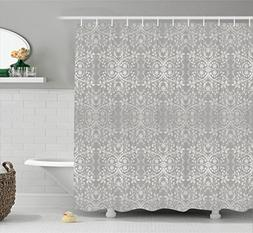 Ambesonne Grey Shower Curtain, Victorian Lace Flowers and Le