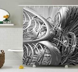 Ambesonne Grey Shower Curtain, Science Fiction Theme 3D Cybe