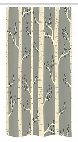 Ambesonne Grey Stall Shower Curtain, Birch Tree Branches Vin